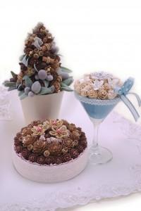 木の実の3作品ケーキ・グラス・コーン