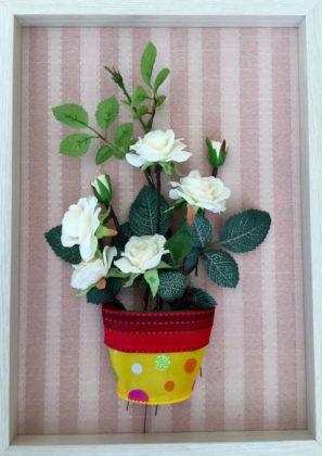 フラワーポット白いバラ0