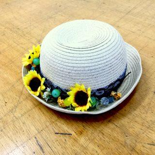 ひまわりの帽子飾り